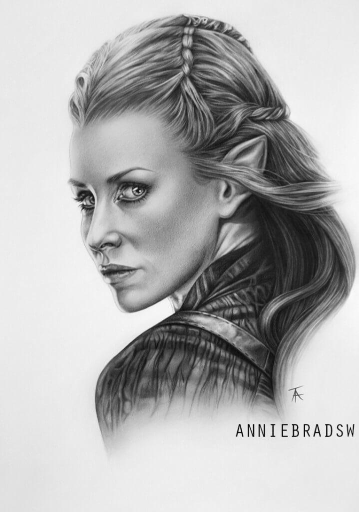Anne Tuza pencil portrait of Tauriel